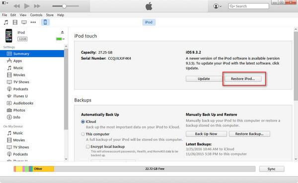 Restaurer avec iTunes