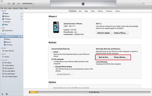 Stellen Sie das iTunes-Backup wieder her