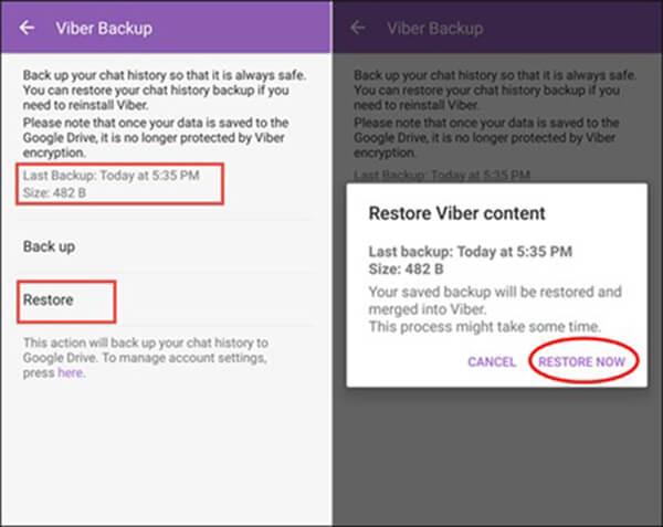 Viberのバックアップを復元する