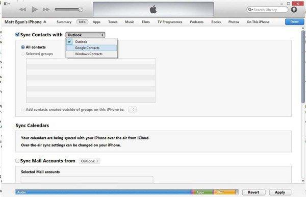 Enregistrer le contact iPhone