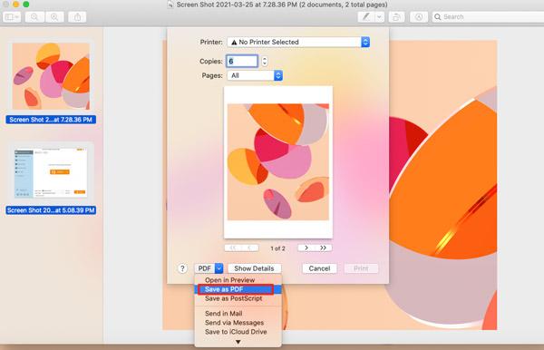 Enregistrer le tiff au format PDF sur Mac
