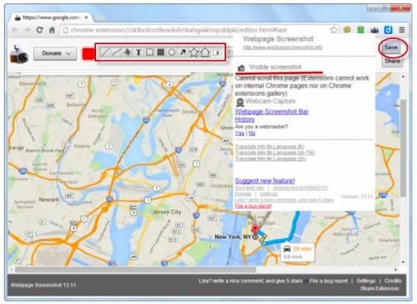 Capture d'écran de Google Maps en ligne