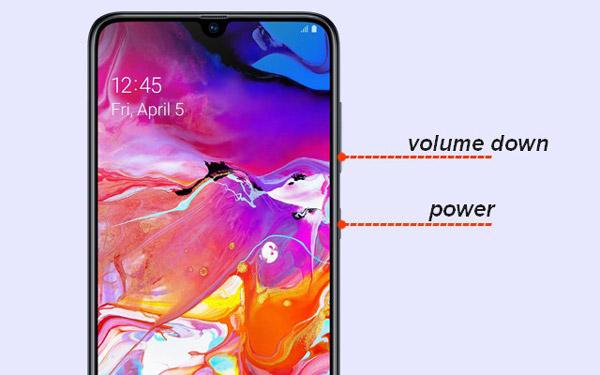 Capture d'écran sur la combinaison de boutons Samsung