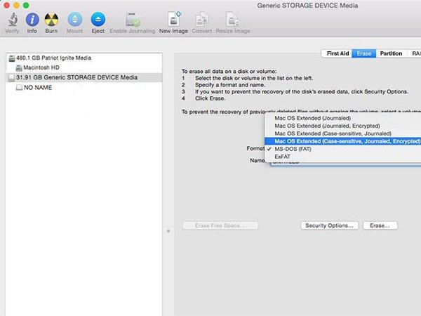 Formatieren Sie die SD-Karte auf dem Mac