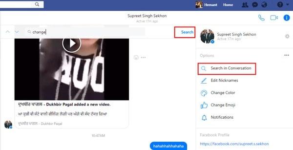 Rechercher des messages Facebook dans des conversions spécifiques