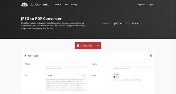 CloudconvertのJPEGファイルを選択します