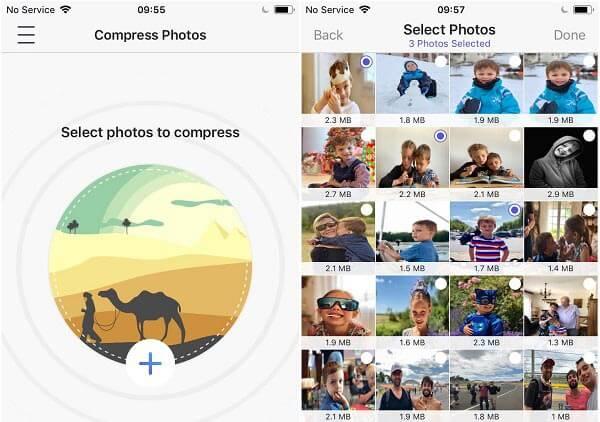 Wählen Sie Fotos, um das iPhone zu verkleinern