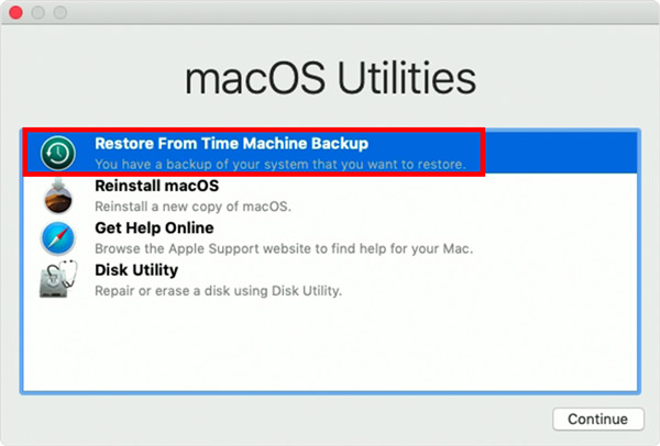"""Wählen Sie """"Mac aus Time Machine-Sicherung wiederherstellen"""""""