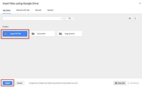 Senden Sie große PDF-Dateien mit Google Drive
