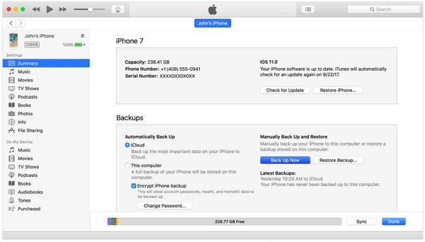 Stellen Sie das iPhone auf iTunes-Backup-Einstellungen ein
