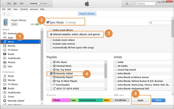 Sync music from iTunes to new iphon