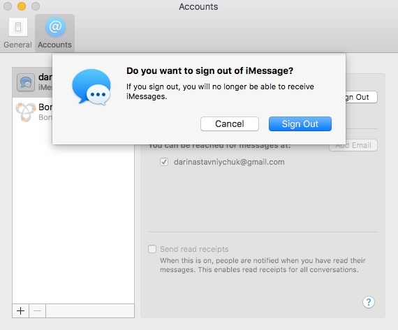 Sign out of iMessage on Mac