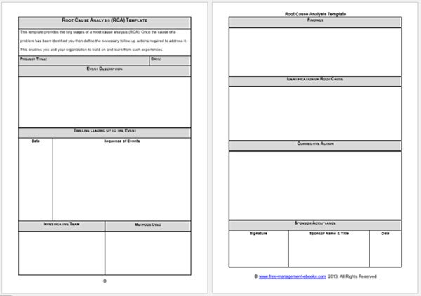 Simple Root Cause Analysis Form