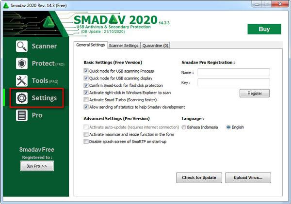 Paramètres Smadav