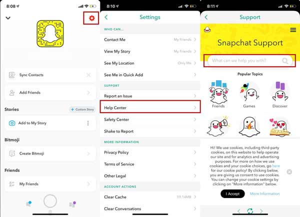 Soutien de Snapchat