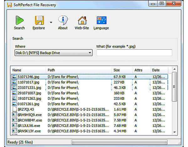 SoftPerfect File Recovery