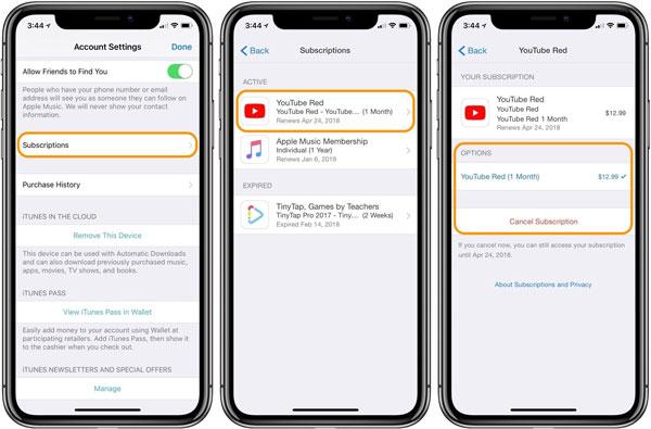 Abonnements sur iPhone