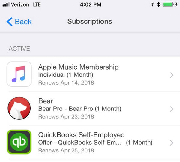 Subscriptions Settings