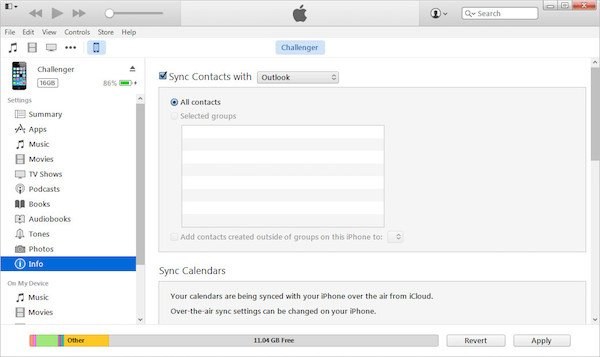 Synchroniser les contacts de l'iPhone avec iTunes