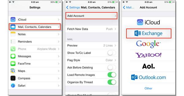 Synchronisez Outlook avec iPhone via Exchange
