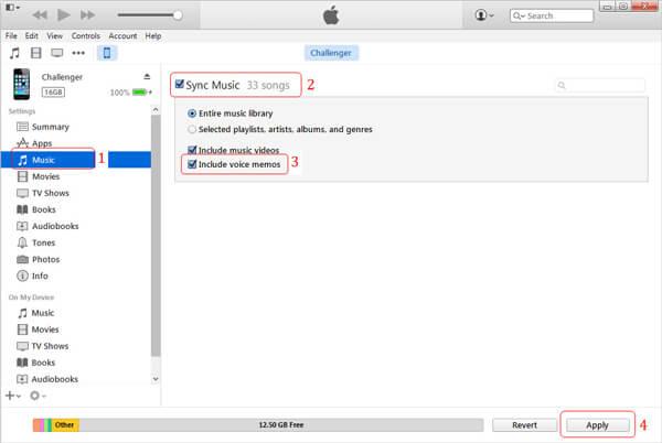 Synchroniser les mémos vocaux iTunes