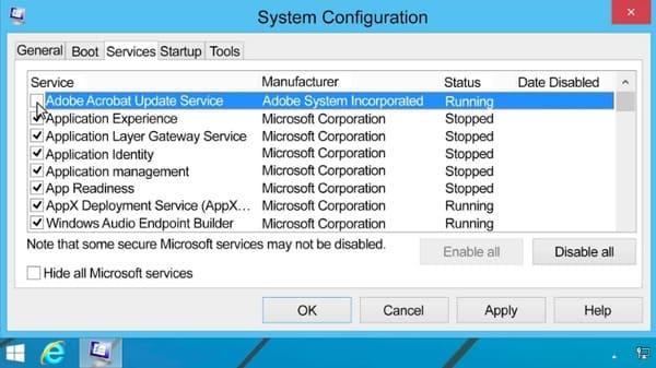 すべてのマイクロソフトサービスを無効にする