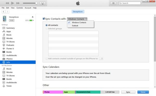 Transfer Contacts iTunes