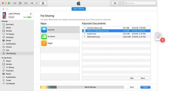 Передача файлов с помощью iTunes