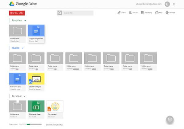 Transférer des fichiers via Google Driver