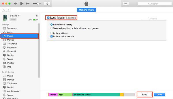 Musique entre iPhone et iTunes