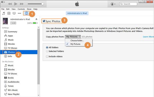 Übertragen Sie Bilder mit iTunes auf das iPad