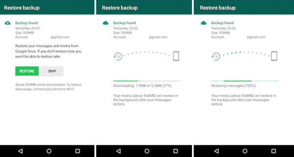 Transférer Whatsapp vers le nouvel Andoroid à partir de Google Drive