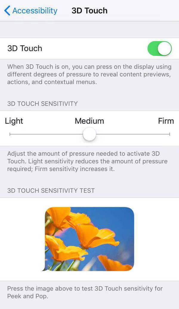 Turn on 3D touch