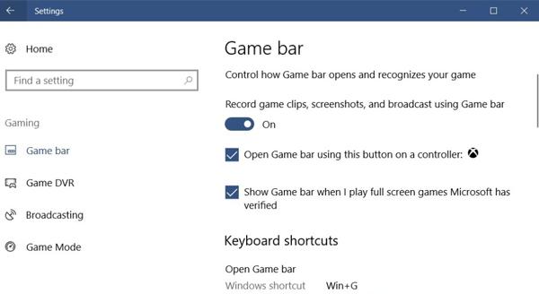 Activez la barre de jeu XBOX