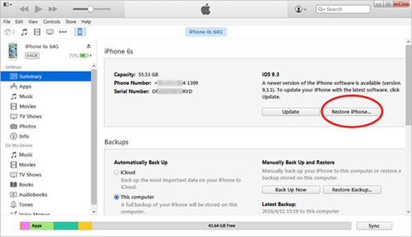Unlock the disabled iPhone with iTunes