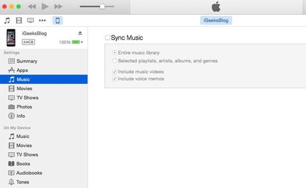Uncheck Sync Music in iTunes