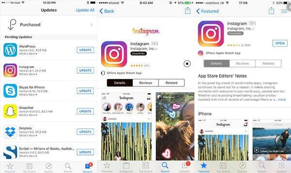 Mettre à jour l'application Instagram