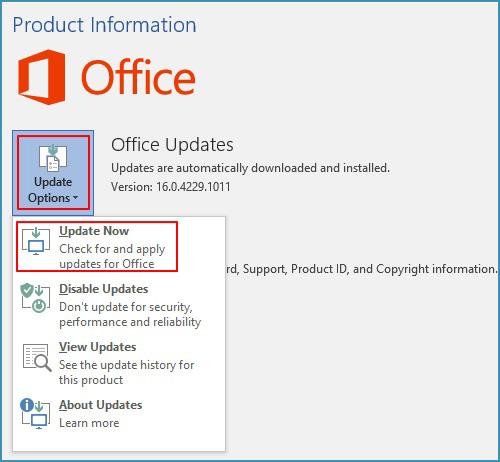 Aktualisieren Sie Microsoft Office
