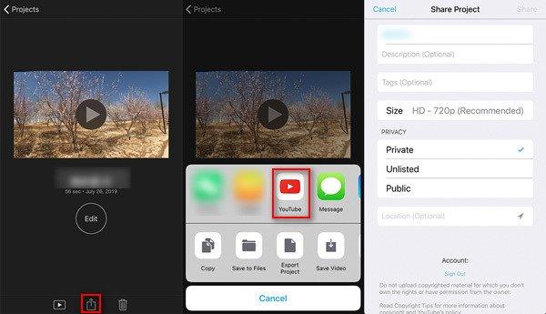 iMovieプロジェクトを共有する