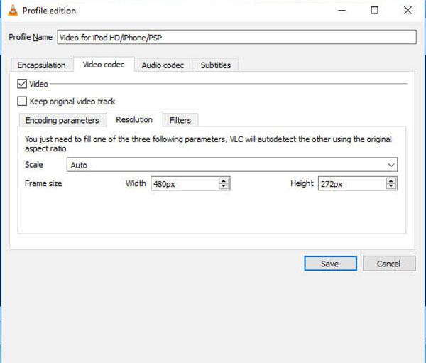 VLC convertir redimensionner