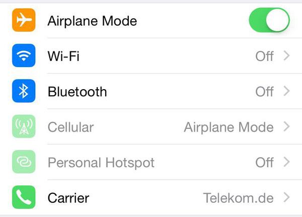 機内モードでのWi-Fi