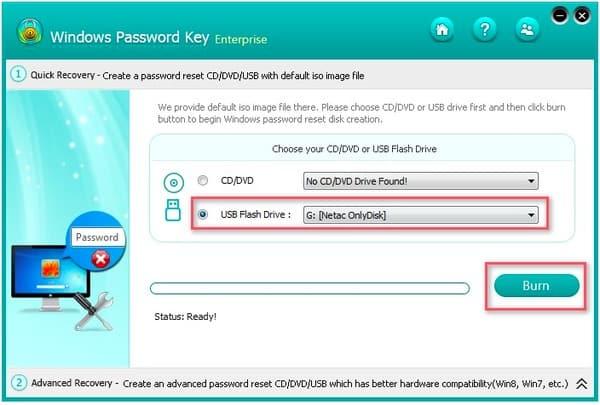 Clé de mot de passe Windows Enterprise Burn