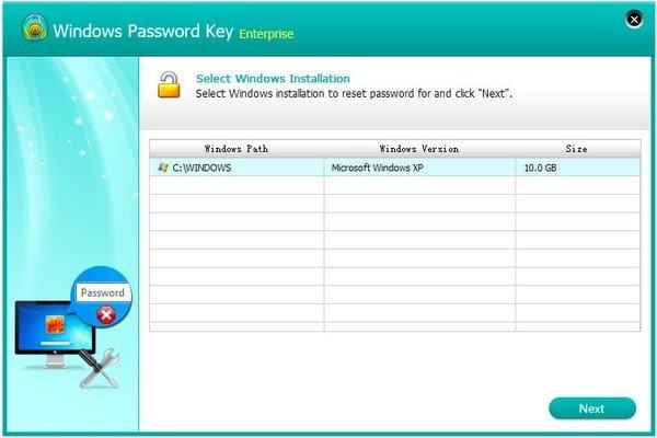Clé de mot de passe Windows Enterprise Select Windows Installation