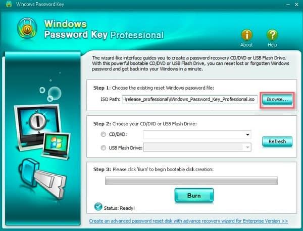 Clé de mot de passe Windows Professional