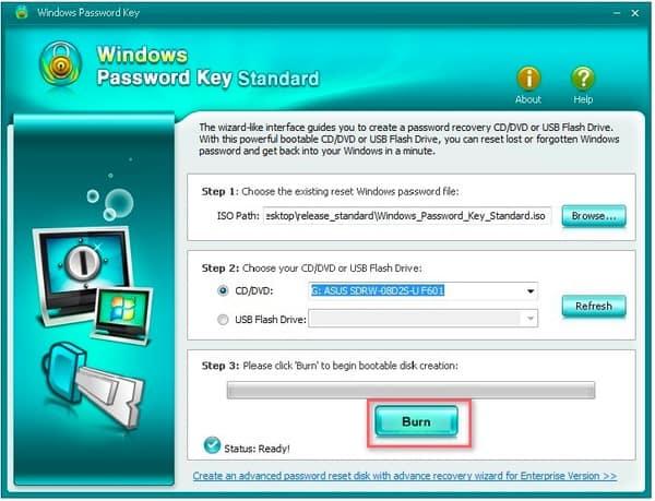 Clé de mot de passe Windows Gravure standard
