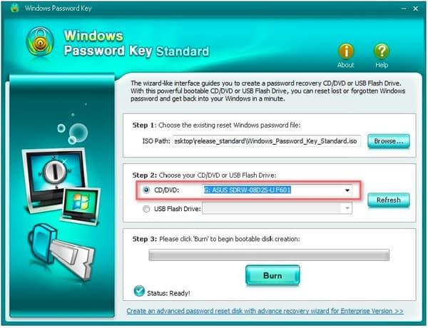 Clé de mot de passe Windows CD standard DVD