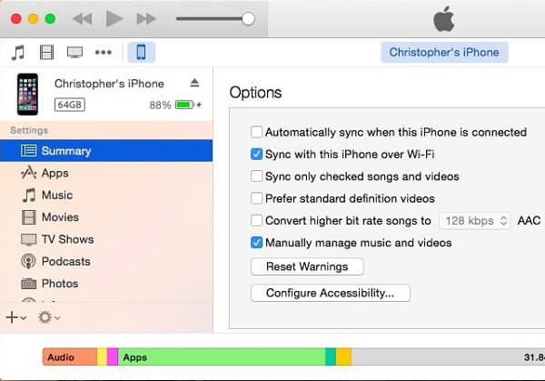 Включить беспроводной обмен файлами iTunes