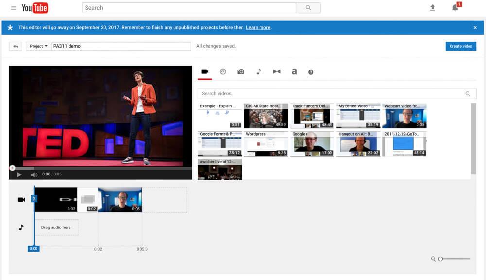 YouTube Editor Kombinieren