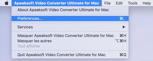 Wählen Sie Einstellungen auf dem Mac